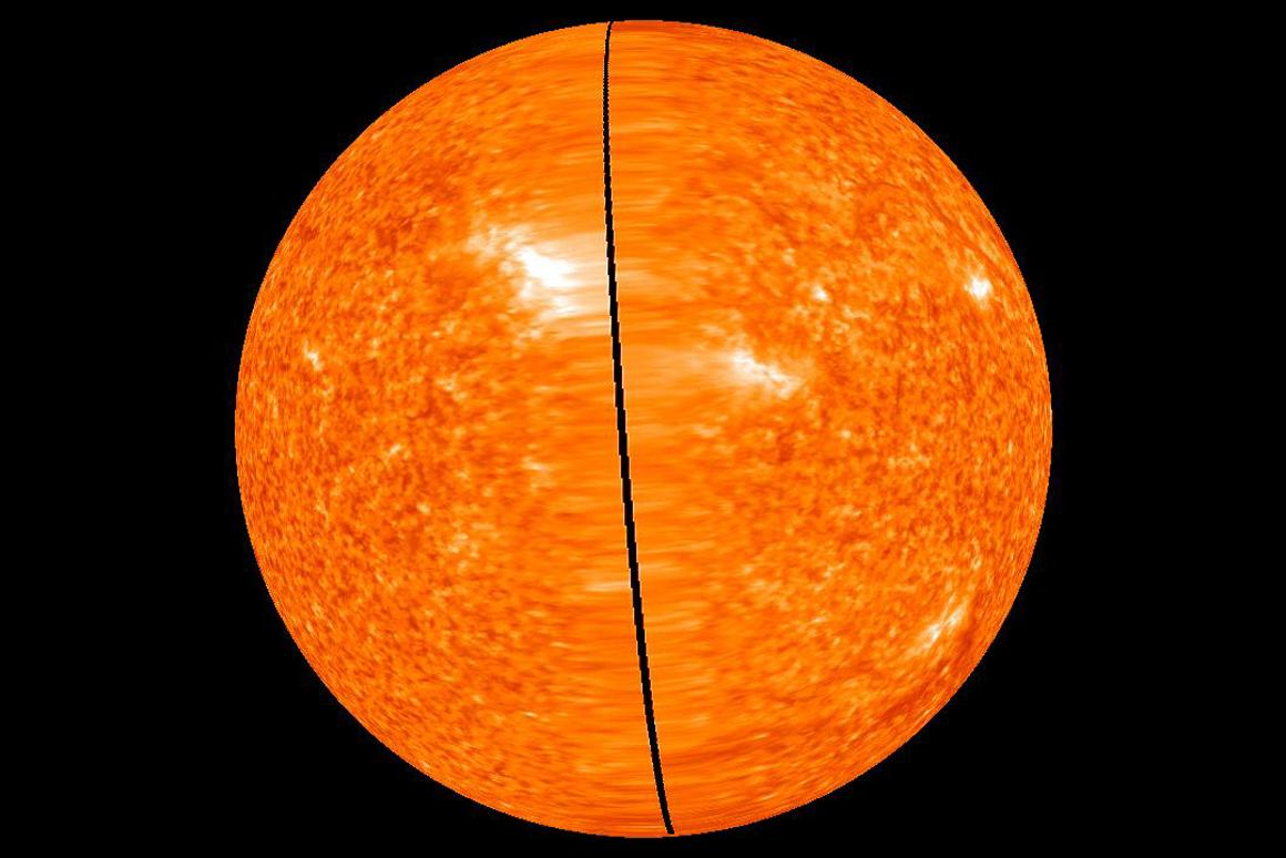Image of the far side of the Sun taken on February 2, 2011 when there was still a small gap between the STEREO Ahead and Behind data - the gap is now closed (Image: NASA)