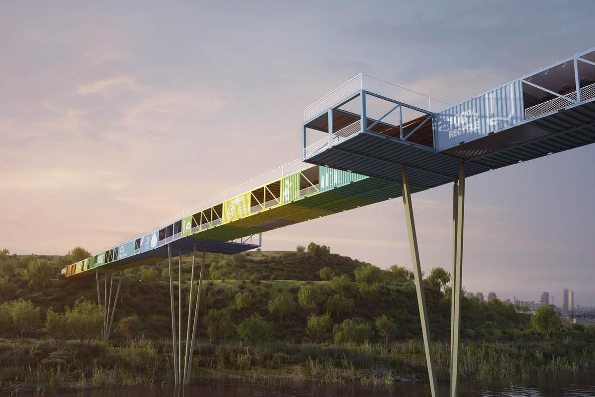 "Yoav Messer Architects' competition-winning ""Ecotainer Bridge"" design (Image: Yoav Messer Architects)"
