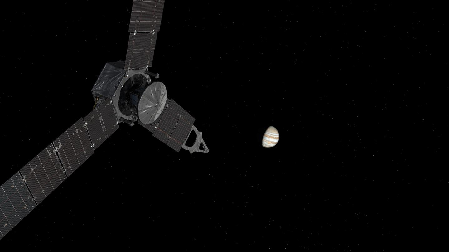 Juno actually spends the majority of its time far away from Jupiter, out in space as part of a so-called elliptical orbit