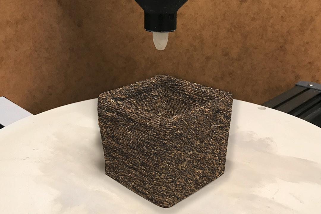 A block of the experimental 3D-printed material