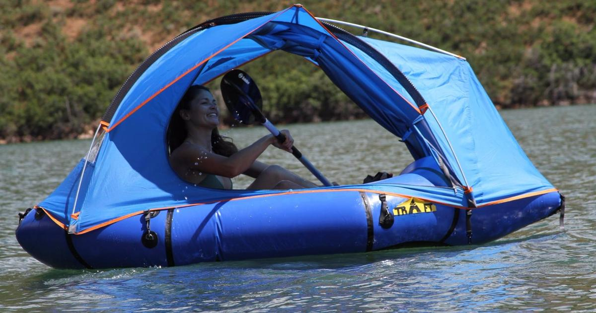 Traft pitches a tent on an expedition-ready packraft