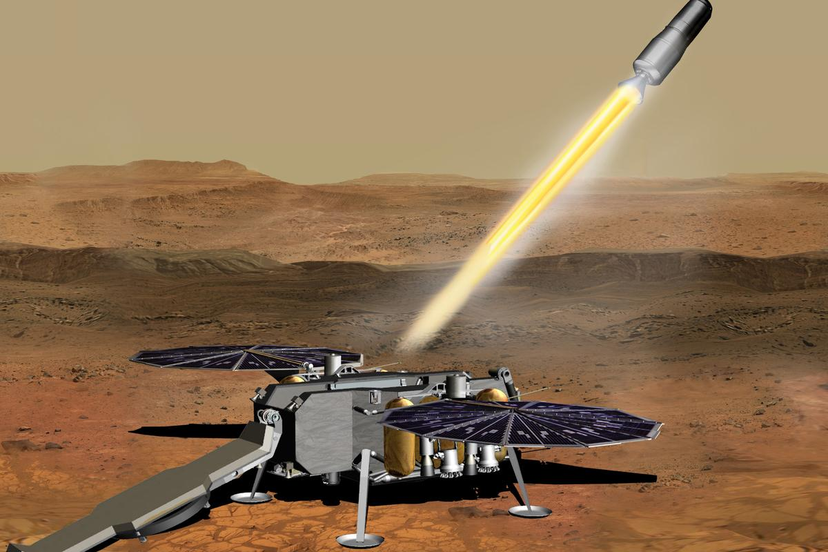 Artist's concept of the Mars Ascent Vehicle lifting off