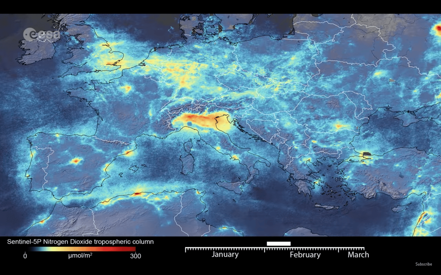 Monitoring by an ESA satellite has revealed a drop in nitrogen dioxide emissions over Italy following the coronavirus lockdown