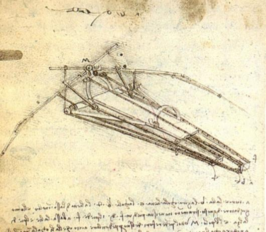 Leonardo Da Vinci's famous flying machine sketch