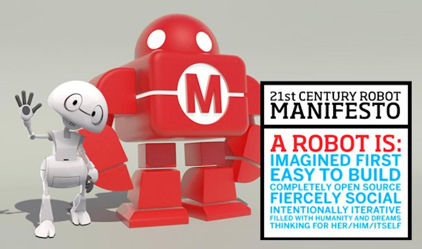 Intel's new open source 3D printed robot Jimmie (left) and the 21st Century robot manifesto (Image: robots21.com)