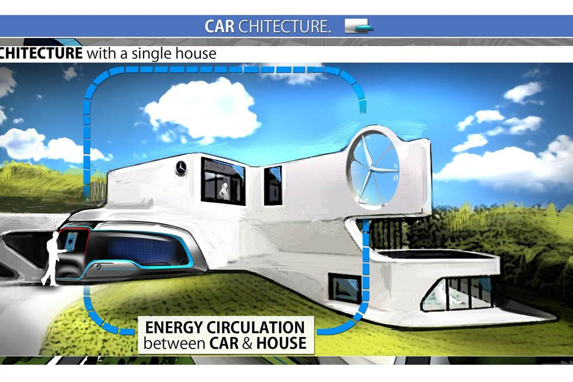 The Carcheticture concept uses the parked car as part of the home infrastructure