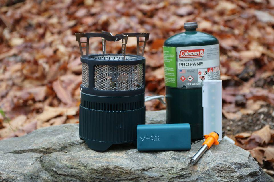Each Gen Stove comes with the main stove, battery pack, fire starter and mini light, along with a storage pouch (propane/butane not included)