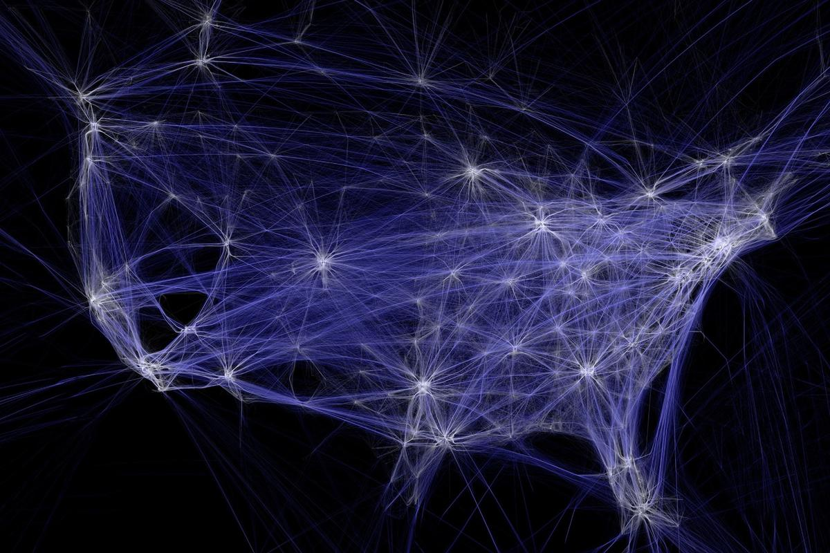 Aaron Koblin's gorgeous work,Flight Patterns, shows 24 hours of air traffic over the United States