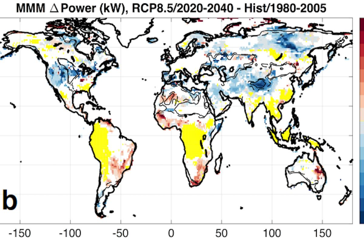 Blue areas represent a drop in wind power between 2020 and 2040; wind farming in the Northern hemisphere may see reduced yields in the coming decades due to climate change