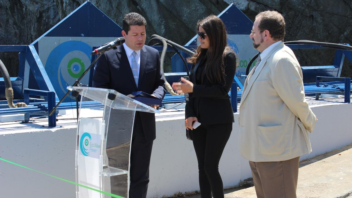 Gibraltar's Prime Minister Fabian Picardo said some brief words about the significance of the occasion, before hitting the button that sent the buoys crashing down into the calm waters below