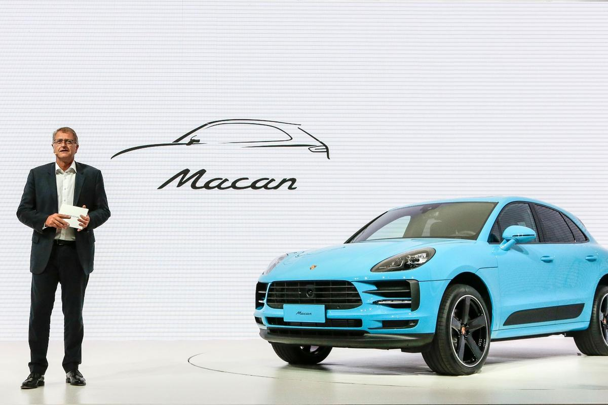 Detlev von Platen, sales and marketing executive for Porsche, introduces the new Macan in Shanghai