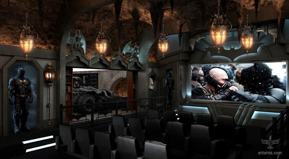 The impressive subterranean Dark Knight home cinema incorporates a dramatic interpretation of the film's Batcave
