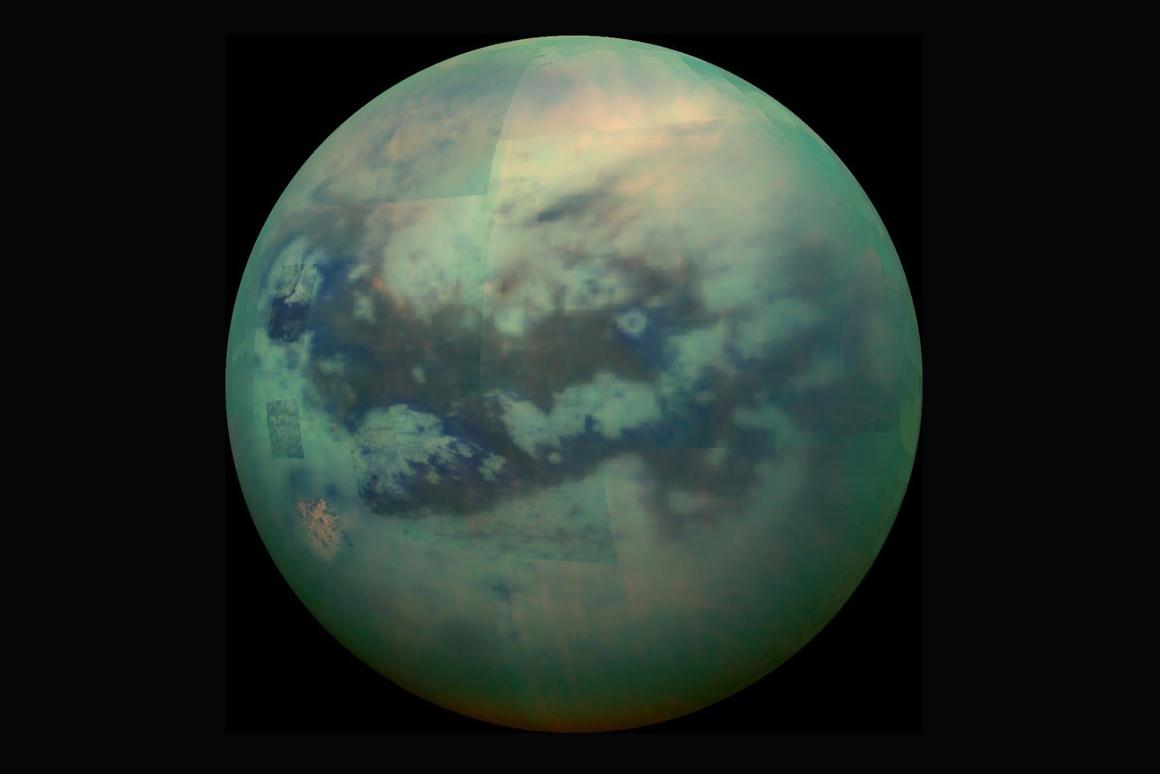 Infrared composite image of Titan returned by a NASA's Cassini spacecraft