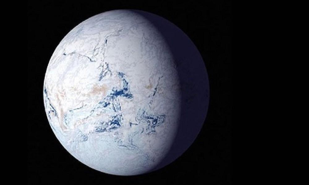 "An artist's impression of what our planet may have looked like during the ""Snowball Earth"" period, about 700 million years ago"