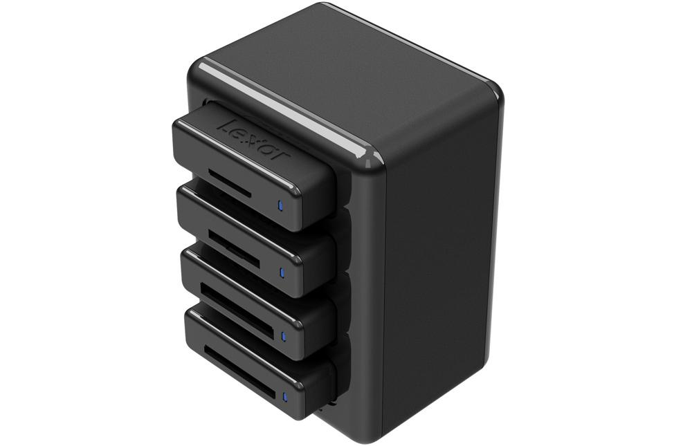 The Lexar Professional Workflow HR1 is a four-bay USB 3.0 card reader hub
