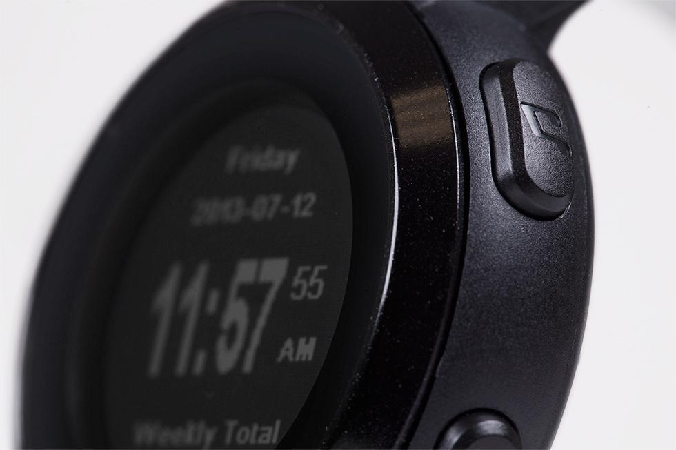 Four customizable buttons on the side of the watch give users control of their fitness apps