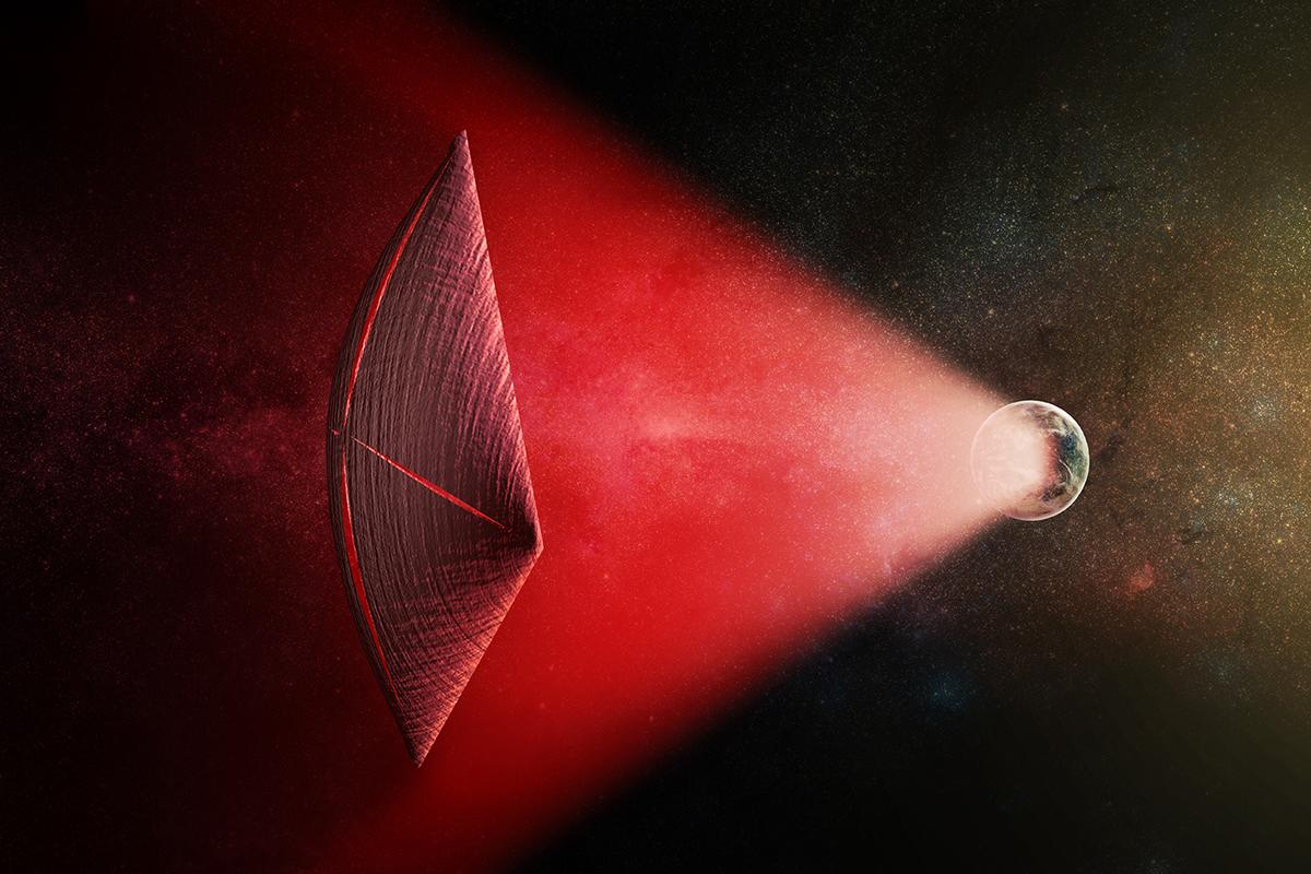 Artist's depiction of a light sail powered by a radio beam (in red) generated on the surface of a planet