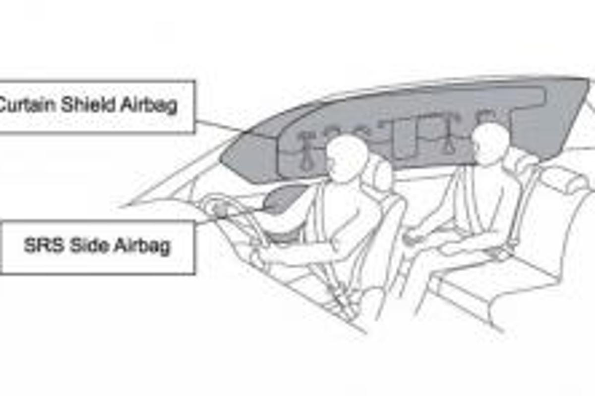 This diagram shows positioning of side and curtain shield airbags, soon to be standard fitment on all Japanese Toyotas.