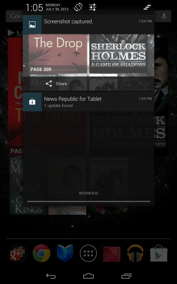 Nexus 7 screenshot - expanded Notifications