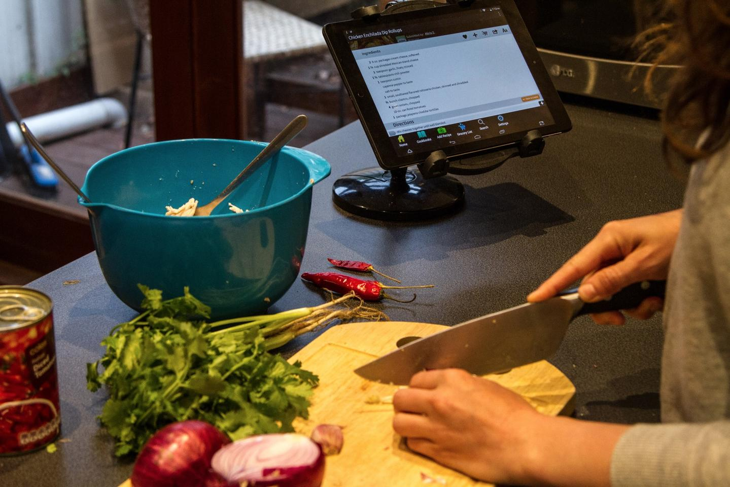 Using the tablet while cooking is as straightforward as you'd expect