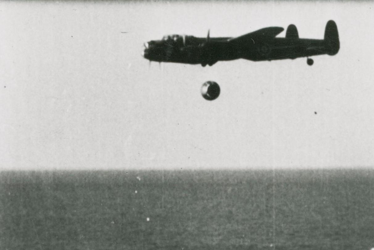 A film still of a bouncing bomb trial (Photo: BAE Systems/SSPL)