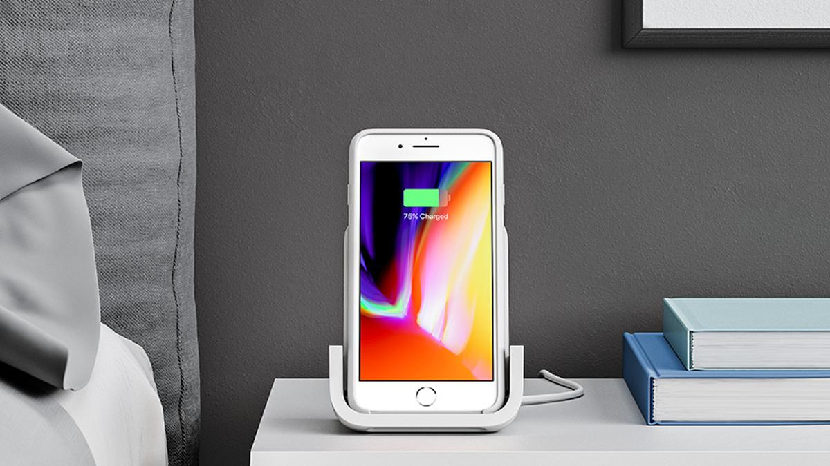 The Logitech Powered Wireless Charging Stand tilts back by 65 degrees, which should provide a good viewing angle for onscreen action while a cradled iPhone is charging