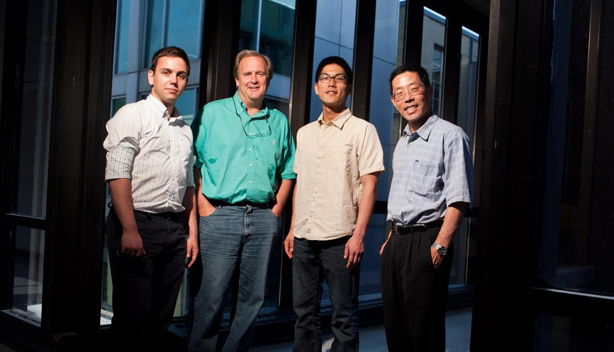 Members of the research team included (from left to right) recent graduate Mihai Duduta '10, Prof. W. Craig Carter, graduate student Bryan Ho, and Prof. Yet-Ming Chiang (Image: Dominick Reuter)
