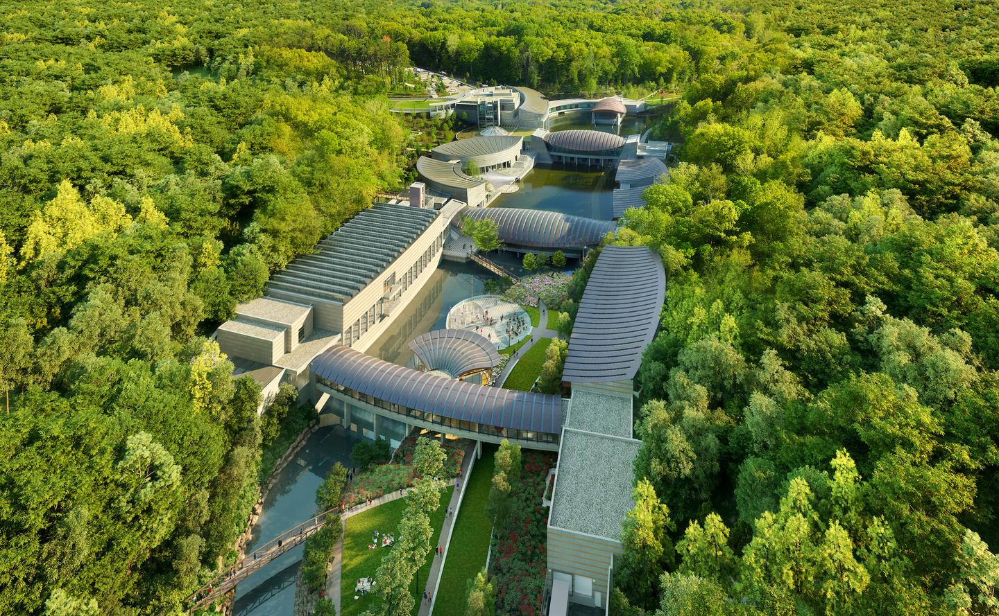 The Crystal Bridges Museum of American Art is nestled within 120 acres (48.5 hectares) of rolling landscape in Arkansas