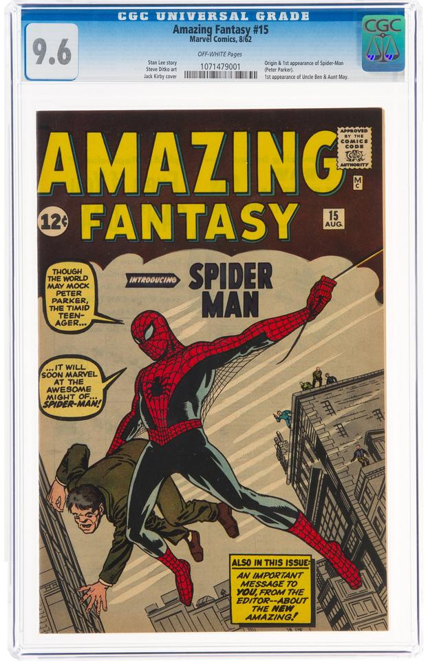 The finest-known copy of Amazing Fantasy No. 15 sold for $3.6 million on 9 September 2021 at Heritage Auctions during the third session of the Sept. 8-12 Comics & Comic Art Signature Auction. Graded CGC Near Mint+ 9.6, the 1962 Marvel comic is one of only four copies ever to receive such a high grade, and there is not a single known copy in better condition.