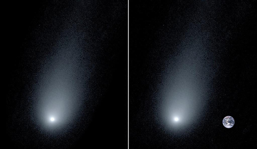 The new image of interstellar comet 2I/Borisov (left) accompanied by a composite image showing the Earth for scale (right)