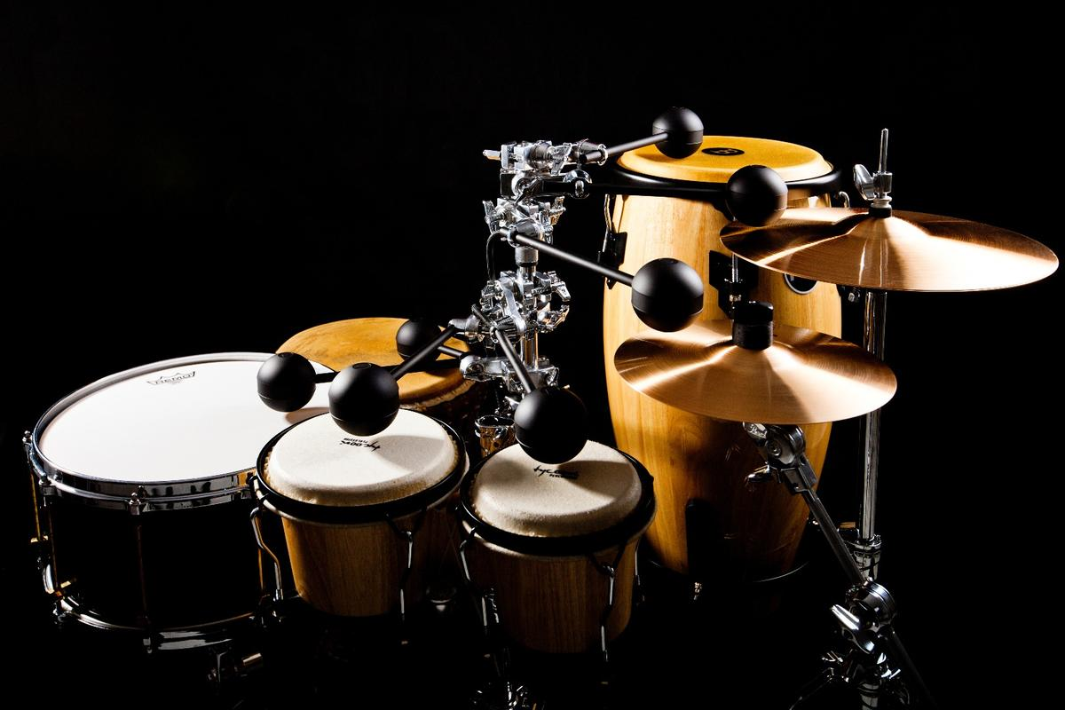 The MIDI-controlled Perc system can be used to play any percussion instrument that can be hit with a stick or hand