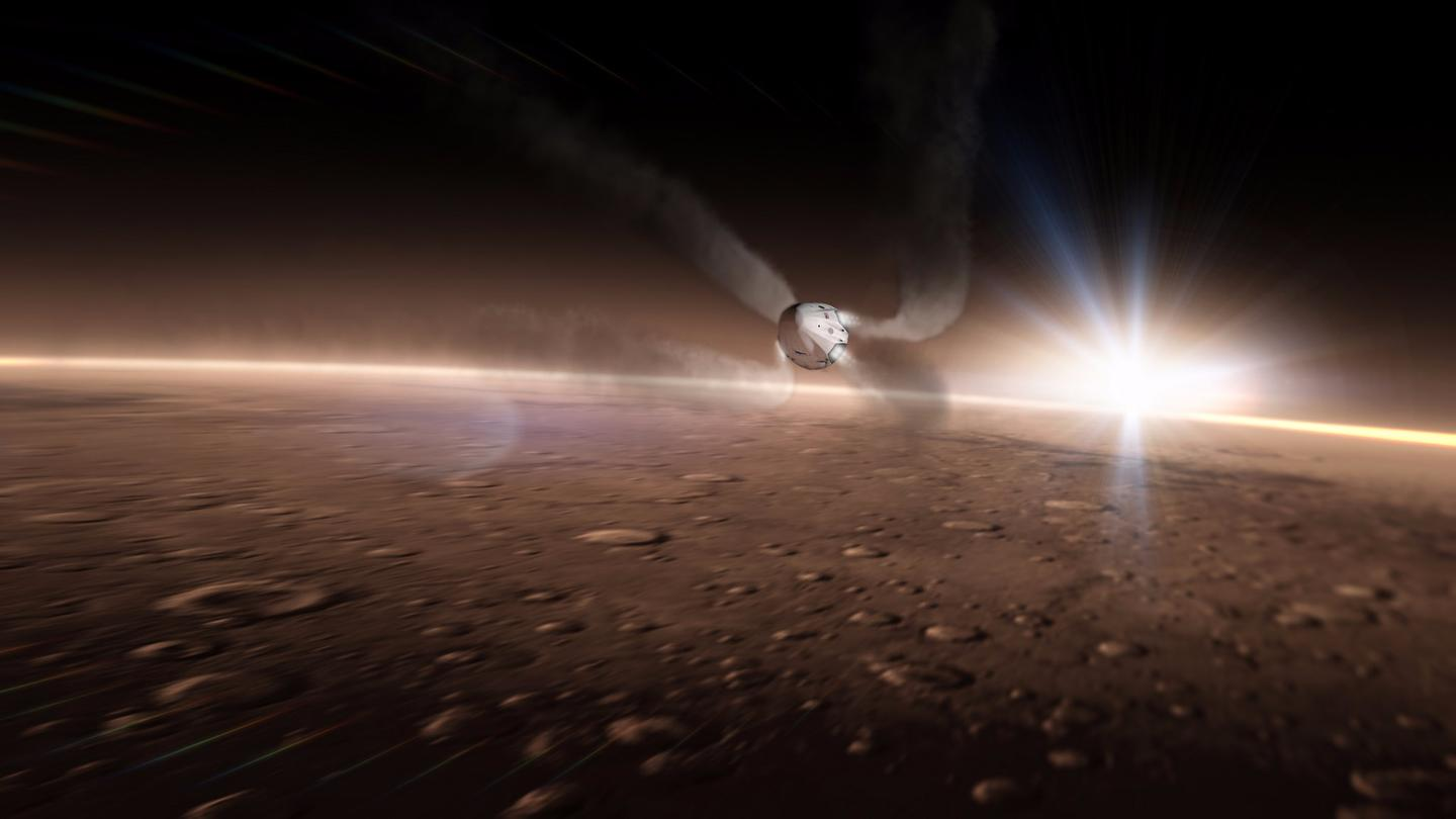 Artist's concept of a SpaceX Dragon approaching Mars