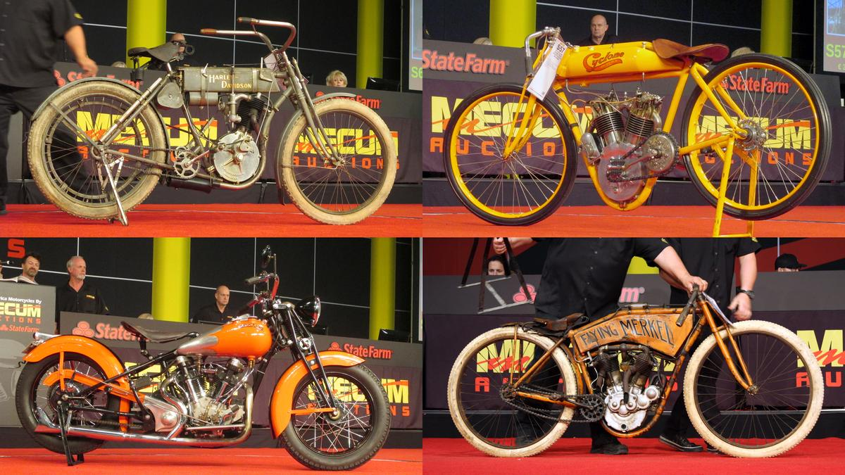 "The four biggest sales at the EJ Cole auction were from top left clockwise: a 1907 Harley-Davidson ""Strap Tank"" for $715,000; a world record $852,500 for the 1915 Cyclone Board Track Racer; $423,500 for a 1911 Flying Merkel Board Track Racer and $385,000 for a 1942 Crocker. (Photos: Somer Hooker)"