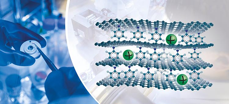 An artist's impression of a new sodium-ion battery design, which relies on stacked layers of graphene with molecules wedged in between for high capacity