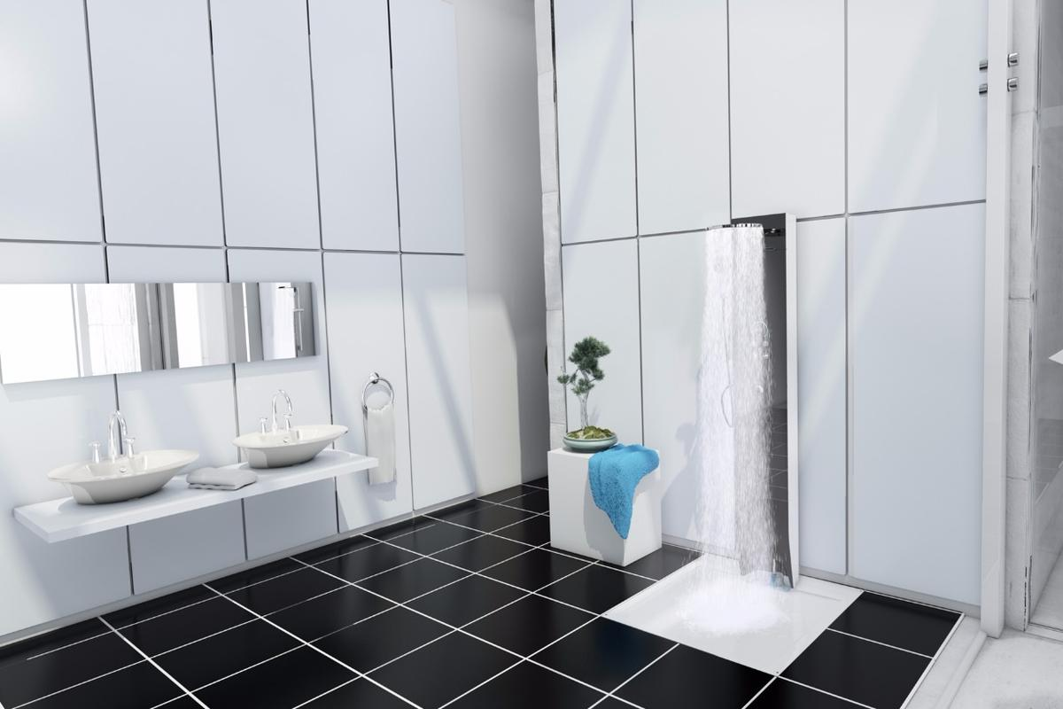 The e-Shower can be submerged into the floor and built into the wall