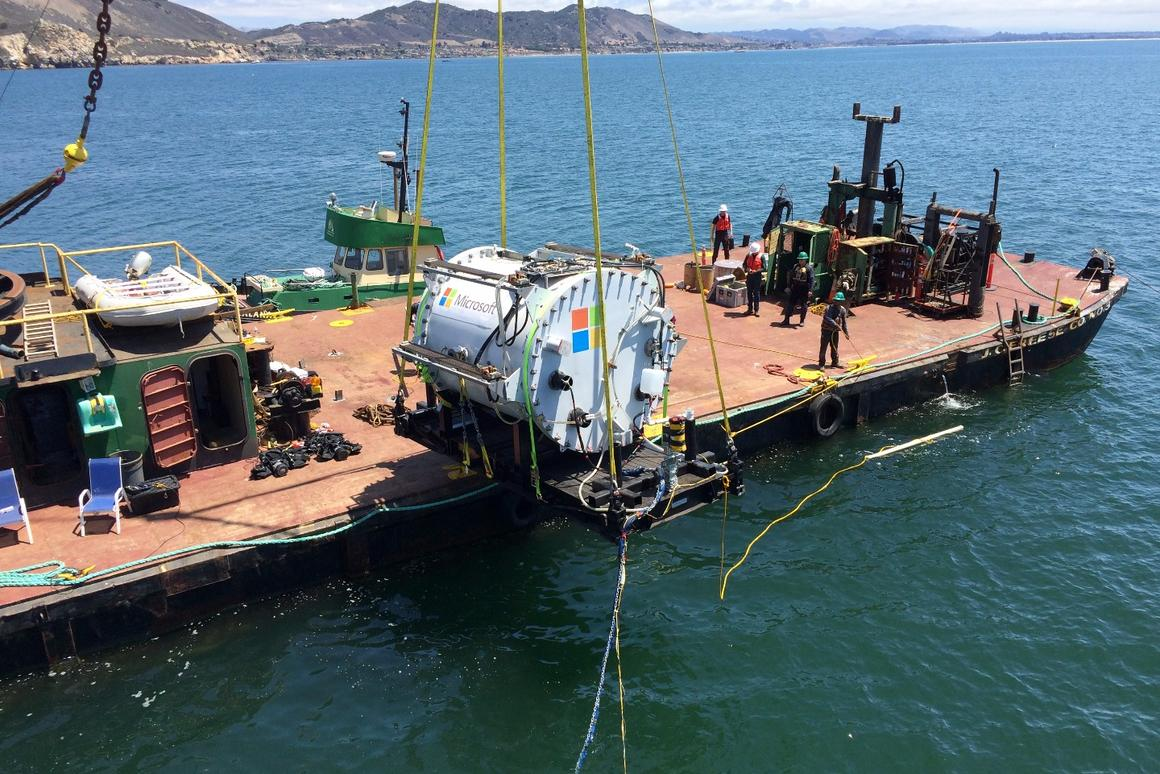 The Project Natick vessel – named Leona Philpot, after a character in the game Halo – is lowered into the Pacific