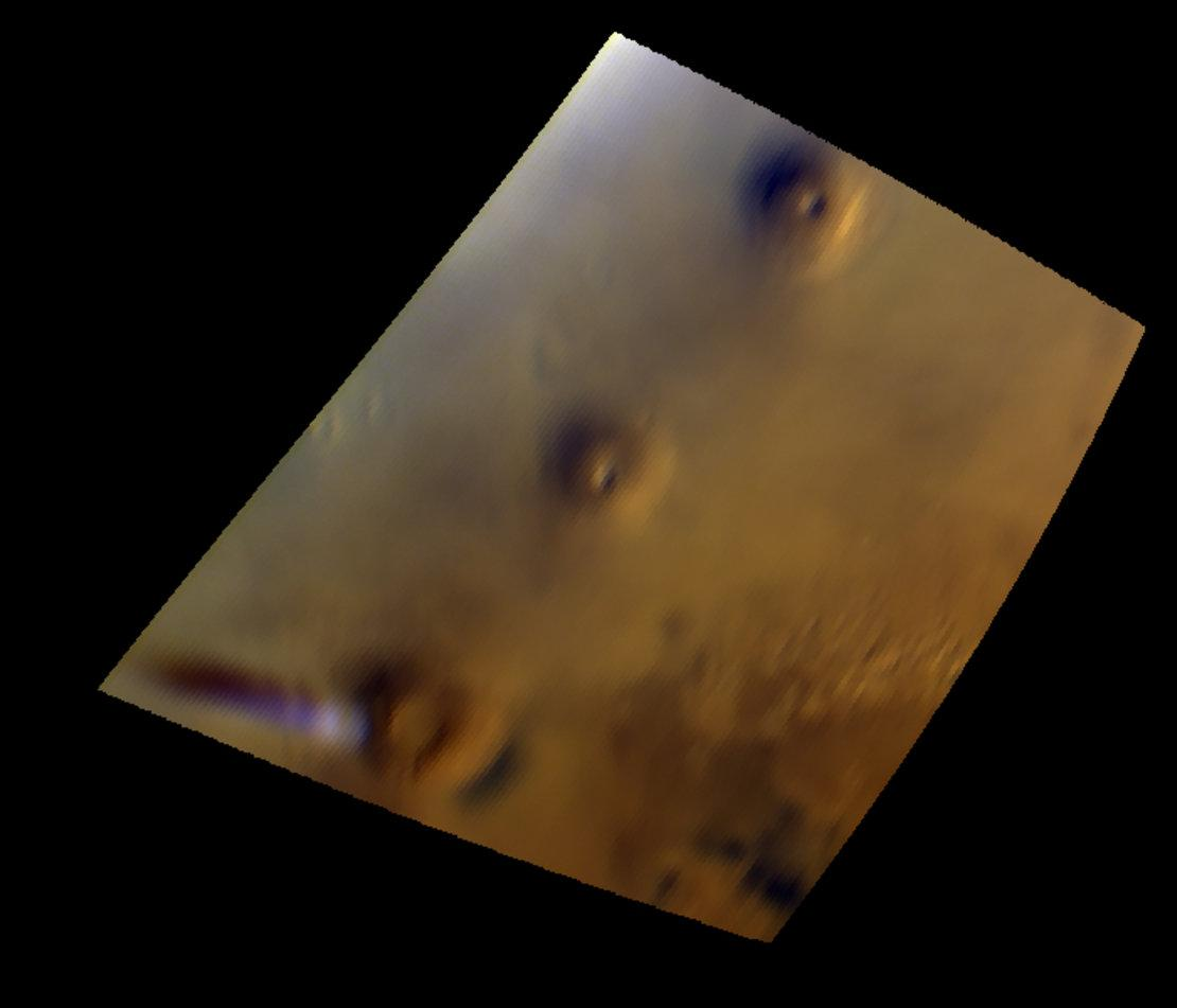 The visible and near-infrared mapping spectrometer, OMEGA, on ESA's Mars Express observed a curious cloud formation that appears regularly in the vicinity of the Arsia Mons volcano