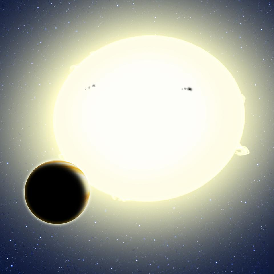 This artist's conception shows Kepler-76b orbiting its host star, which has been tidally distorted into a slight football shape (exaggerated here for effect) (Image: David A. Aguilar, CfA)