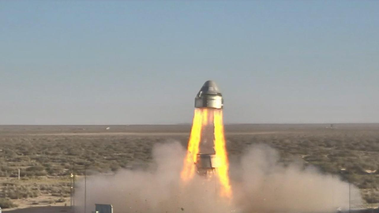 Boeing's CST-100 Starliner's four launch abort engines and several orbital maneuvering and attitude control thrusters ignite in the company's Pad Abort Test