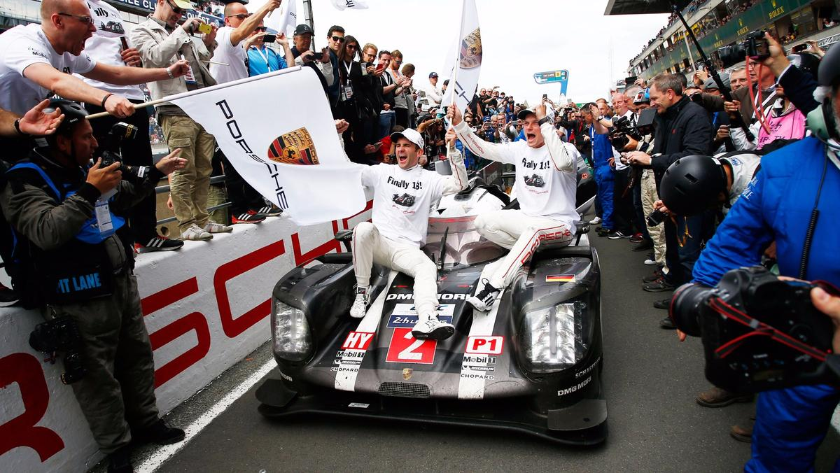Victory celebrations for Porsche at Le Mans