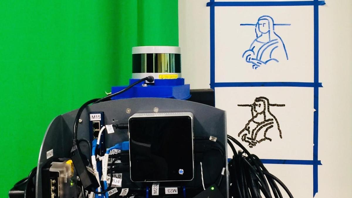 The robot's version of a Mona Lisa sketch, beneath the hand-drawn original