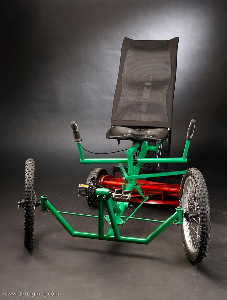 The Mow Cycle human-powered riding mower (Photo: Justin Steiner, Dirt Rag magazine)