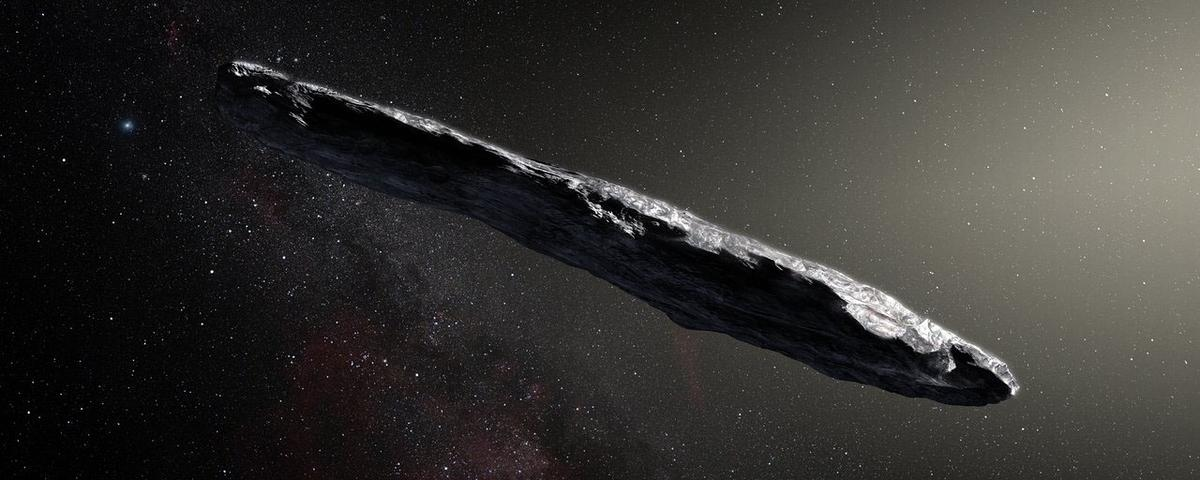 An artist's concept of interstellar asteroid 1I/2017 U1 ('Oumuamua) as it passed through the solar system after its discovery in October 2017