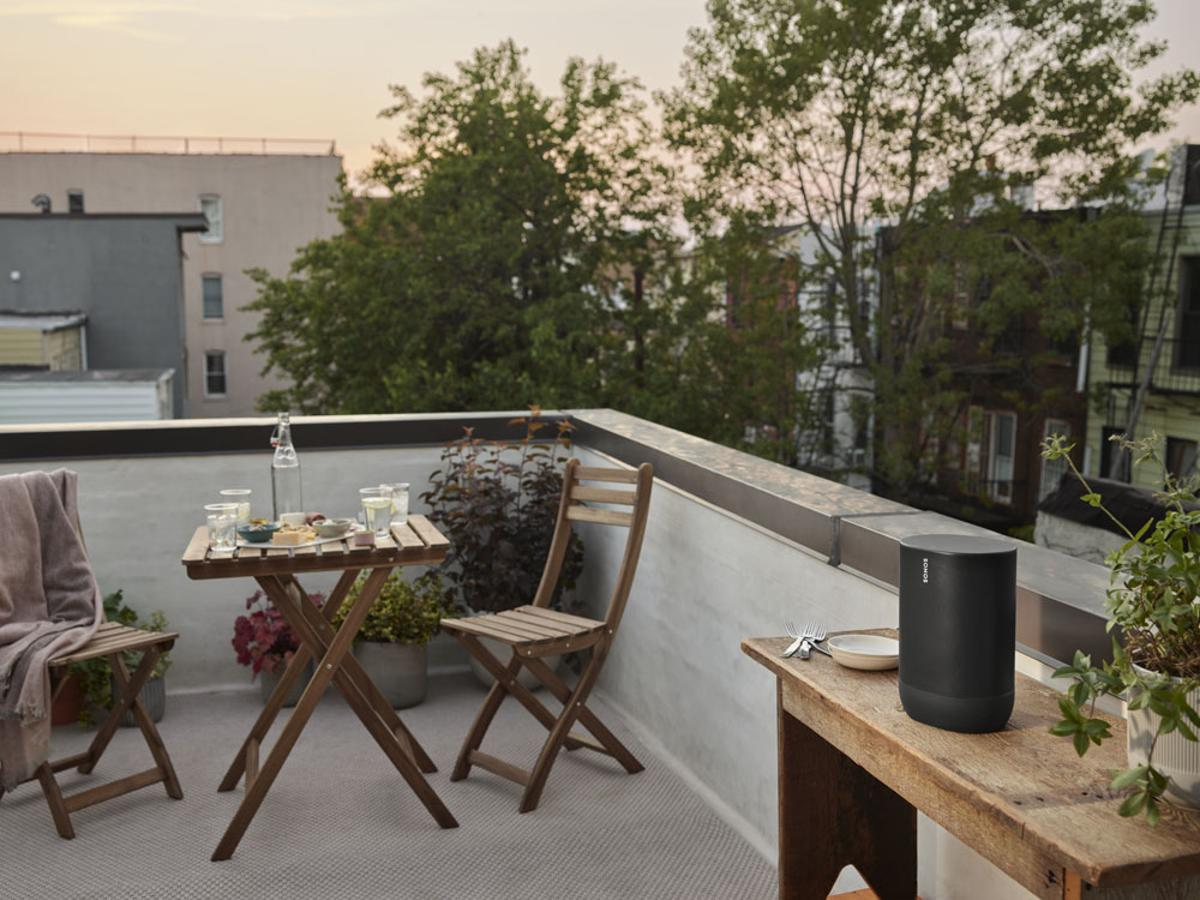 Take your party on the patio with the Sonos Move portable speaker