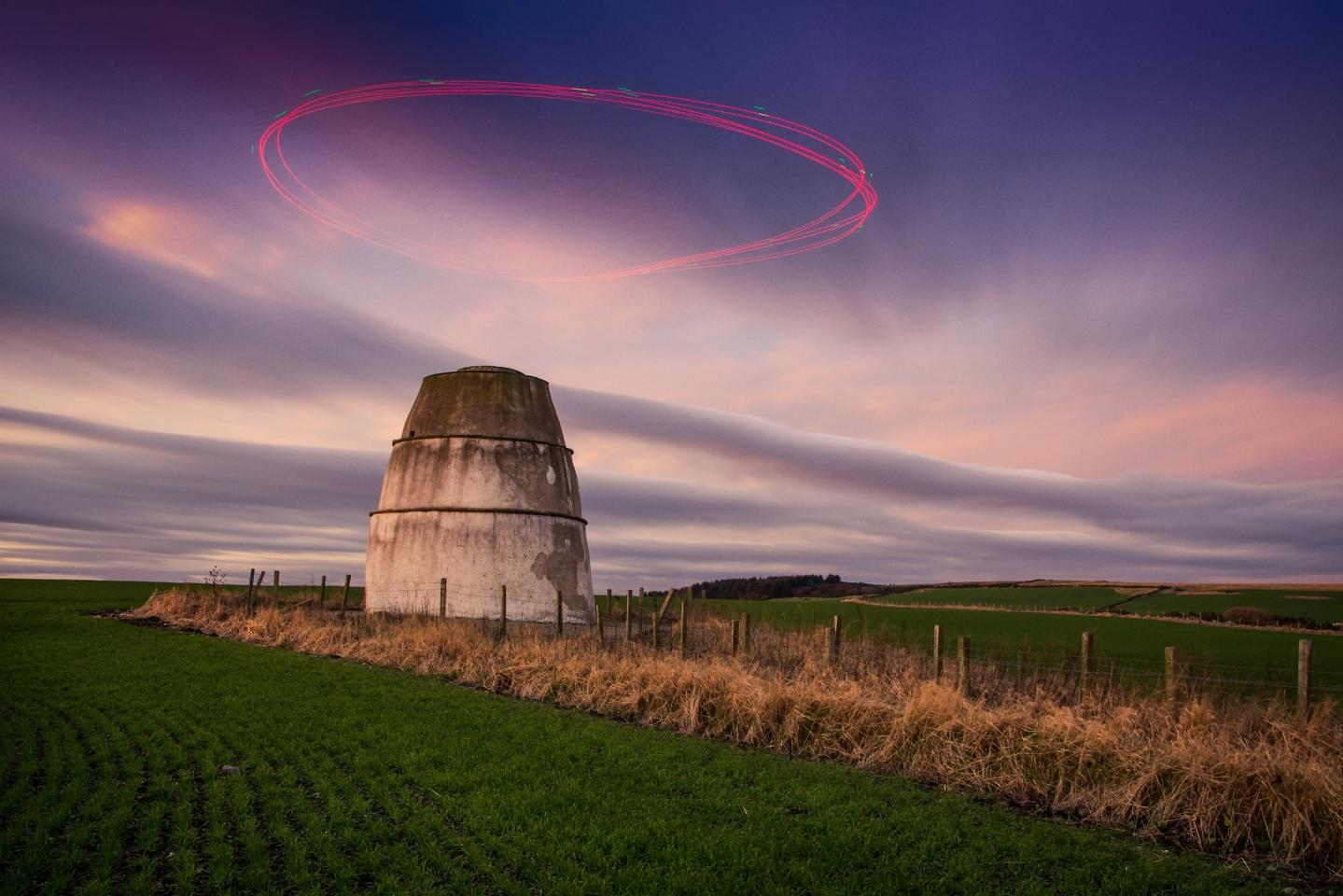This long-exposure image of a drone circling a 16th-century storehouse took out first prize in the Enthusiast: Drones in Use category