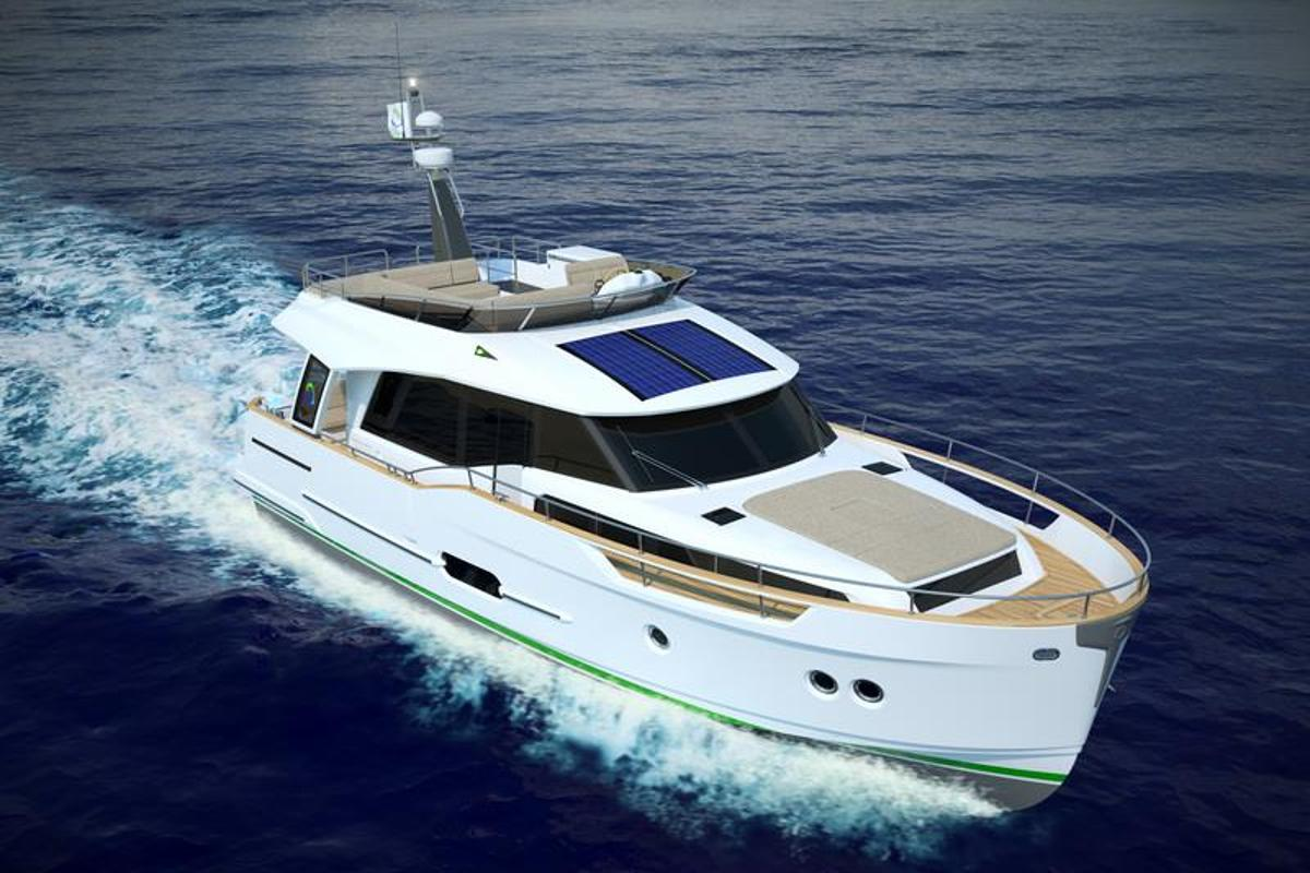 The Greenline 48 that débuted at the Dusseldorf Boat Show