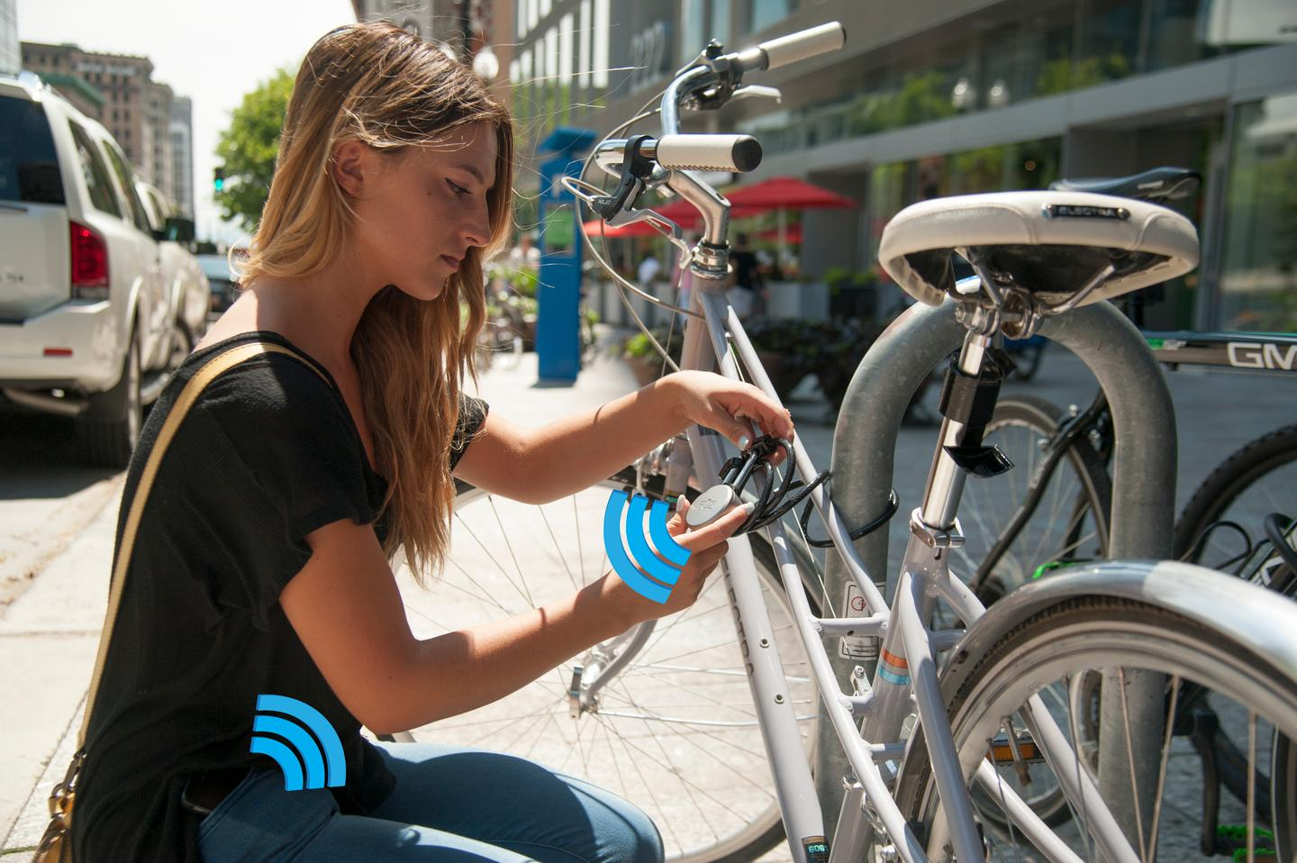 The Noke unlocks in response to a user-specific Bluetooth signal