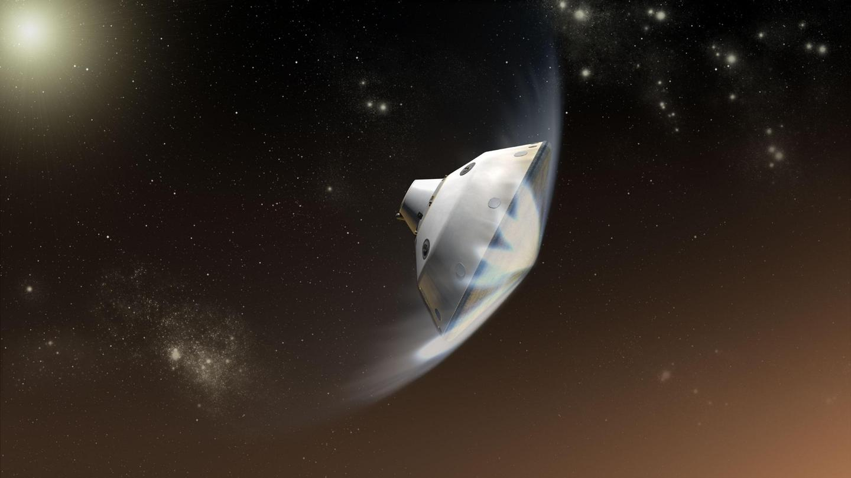Artist's impression of NASA's Mars 2020 lander entering the Martian atmosphere