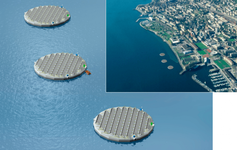 A Swiss company has plans for three floating solar islands (Image: Viteos)