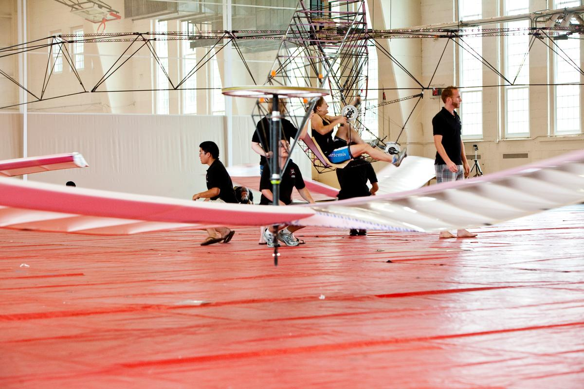 Hovering for 11.4 seconds has secured a place in the record books for the Gamera team, and for its pilot Judy Wexler, who made the longest human-powered flight by a female U.S. pilot